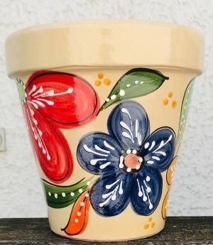 Wandblumentopf, cremefarben mit bunten Blumen