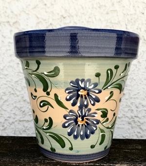 Wandblumentopf glasiert beige/blau