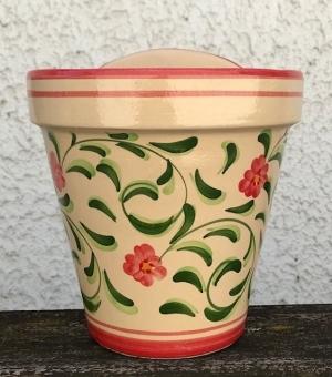 Wandblumentopf beige glasiert mit roten Blümchen