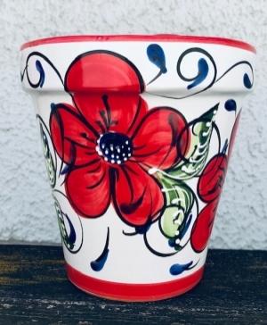 Wandblumentopf, glasiert mit Blumen rot