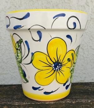 Wandblumentopf, glasiert mit Blumen gelb