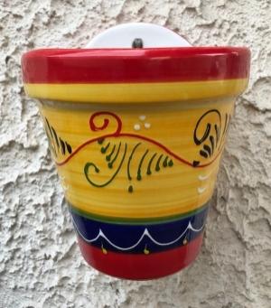 Wandblumentopf filigran bemalt, gelb/rot/blau