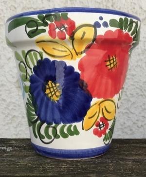 Wandblumentopf, glasiert mit Blumen blau/rot